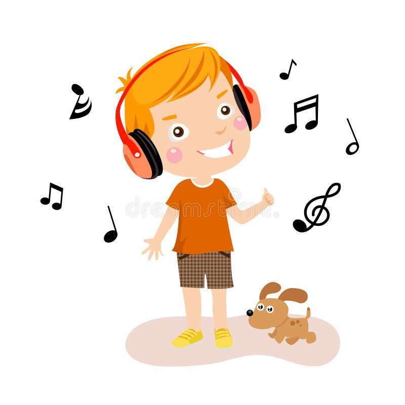chłopiec muzyka szczęśliwa słuchająca ilustracja wektor