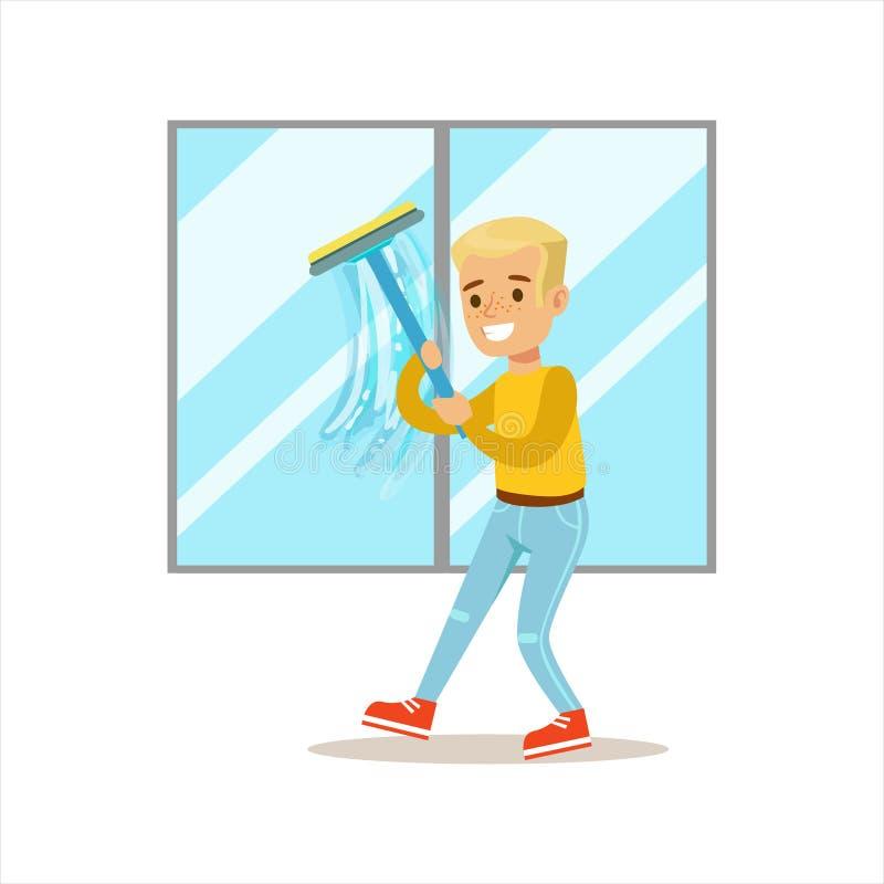 Chłopiec Myje Windows Z Squeegee kreskówki dzieciaka Uśmiechniętym charakterem Pomaga Z Housekeeping I Robi Domowemu Cleanup royalty ilustracja