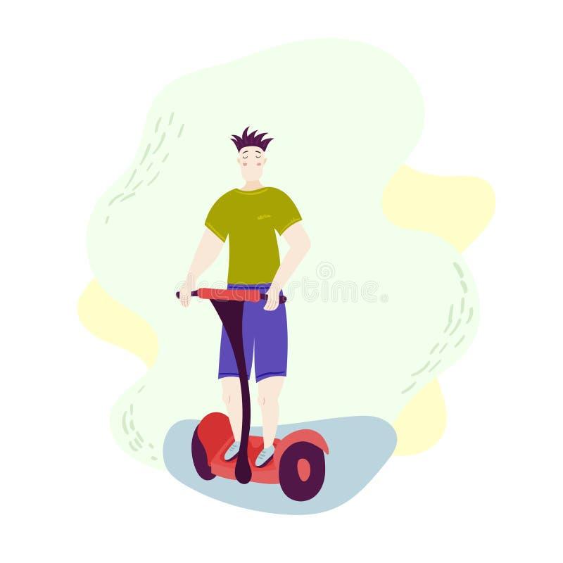 Ch?opiec na Hoverboard wektorze Jecha? Na Gyro hulajnoga dzia?alno?? plenerowa ko?a r?wnowa?enia Elektryczna hulajnoga Odosobnion ilustracji