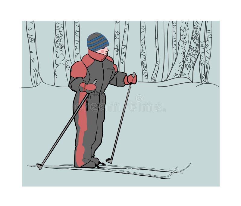 Chłopiec na nartach w zim drewnach ilustracja wektor