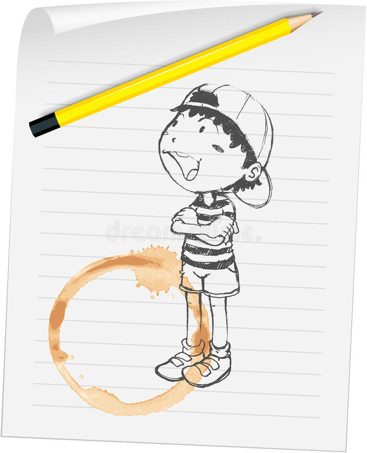 Chłopiec na papierze ilustracja wektor