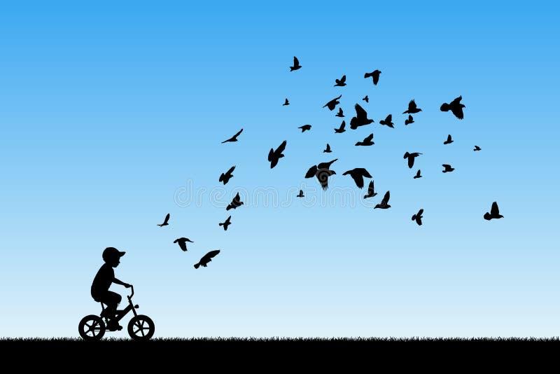 Chłopiec na rowerze i gołębiach w parku royalty ilustracja