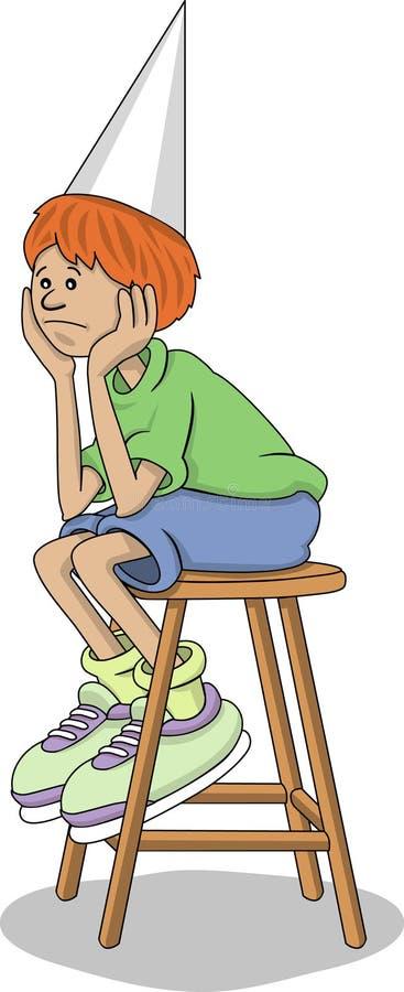 chłopiec nakrętki dunce uczeń ilustracja wektor