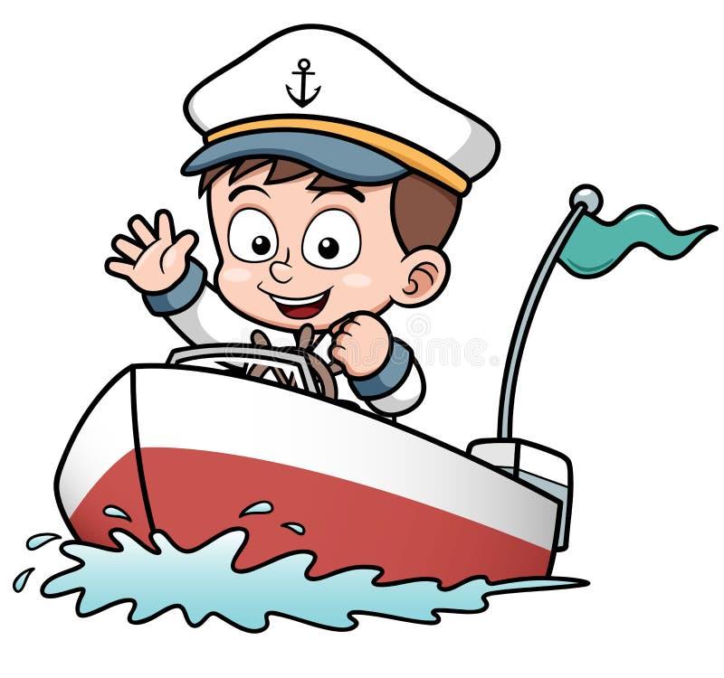 Chłopiec napędowa łódź ilustracji