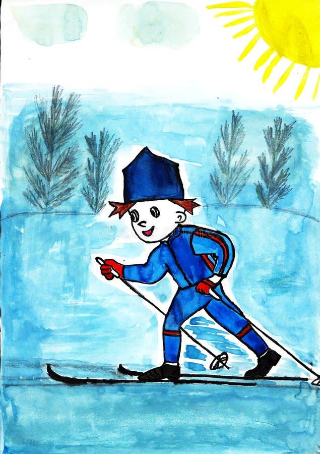 Chłopiec narciarstwo zdjęcie stock