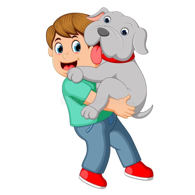 Chłopiec niesie jego psiego ilustracja wektor