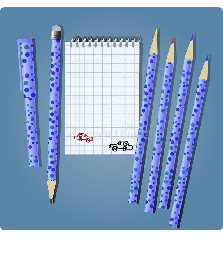 chłopiec notatnik ilustracja wektor