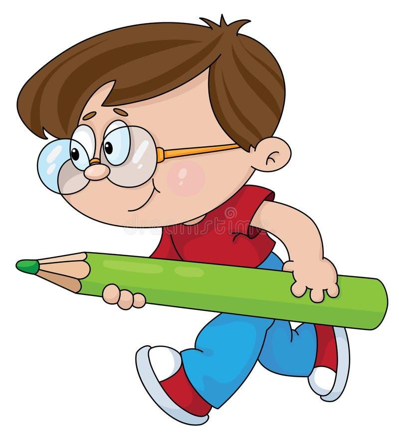 chłopiec ołówek ilustracja wektor