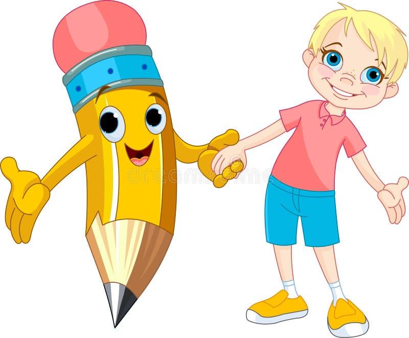 chłopiec ołówek ilustracji
