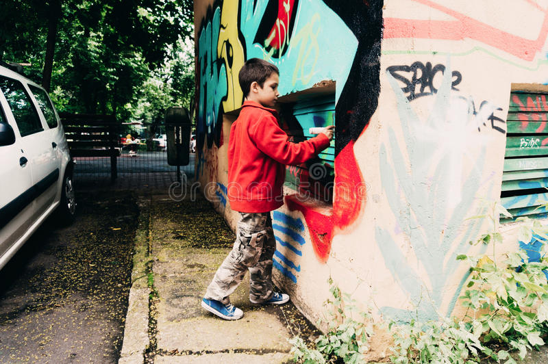Chłopiec obrazu graffiti fotografia stock