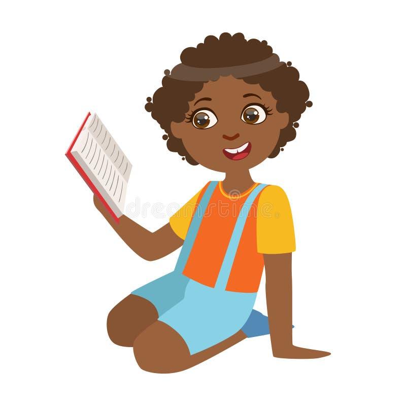 Chłopiec obsiadanie Na Podłogowym czytaniu książka, część dzieciaki Kocha Czytać Wektorowe ilustracj serie ilustracja wektor