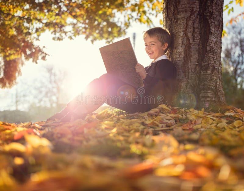 Chłopiec obsiadanie pod drzewną czytelniczą książką obraz stock
