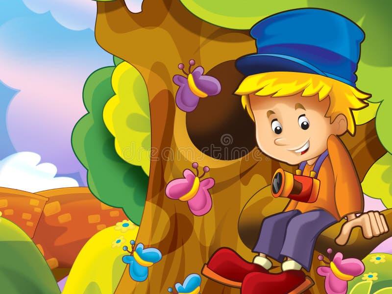 Download Chłopiec Obsiadanie W Gałąź Ilustracji - Ilustracja złożonej z odtwarzanie, pinkin: 28974582