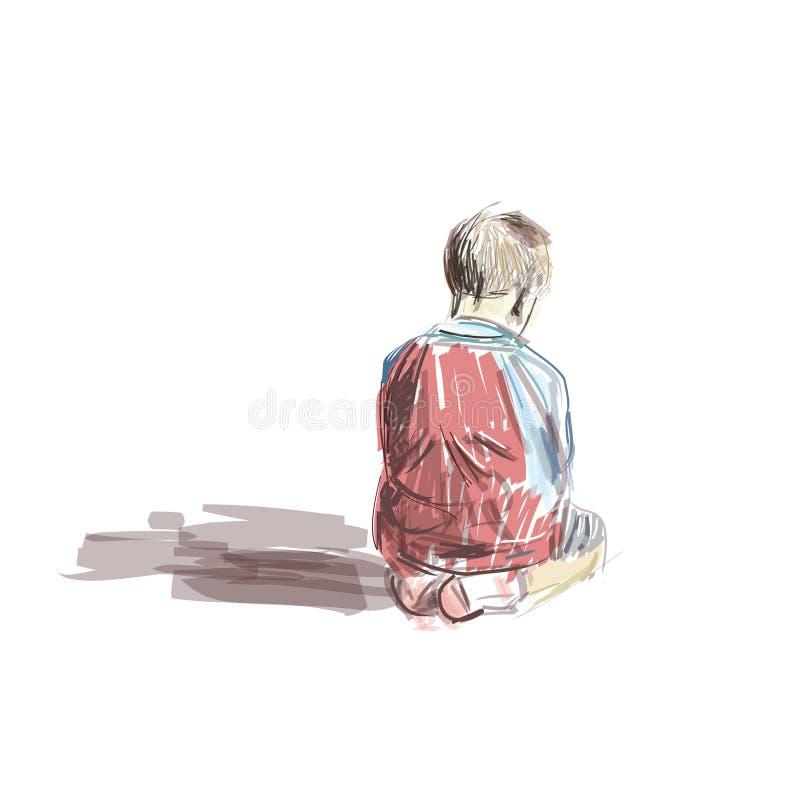 Chłopiec obsiadanie w meczecie royalty ilustracja