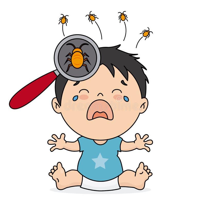 Chłopiec płacz ponieważ wszy ilustracja wektor