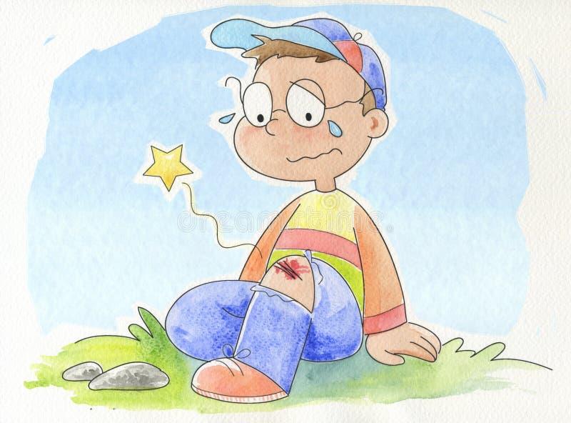 chłopiec płacze mały ilustracji