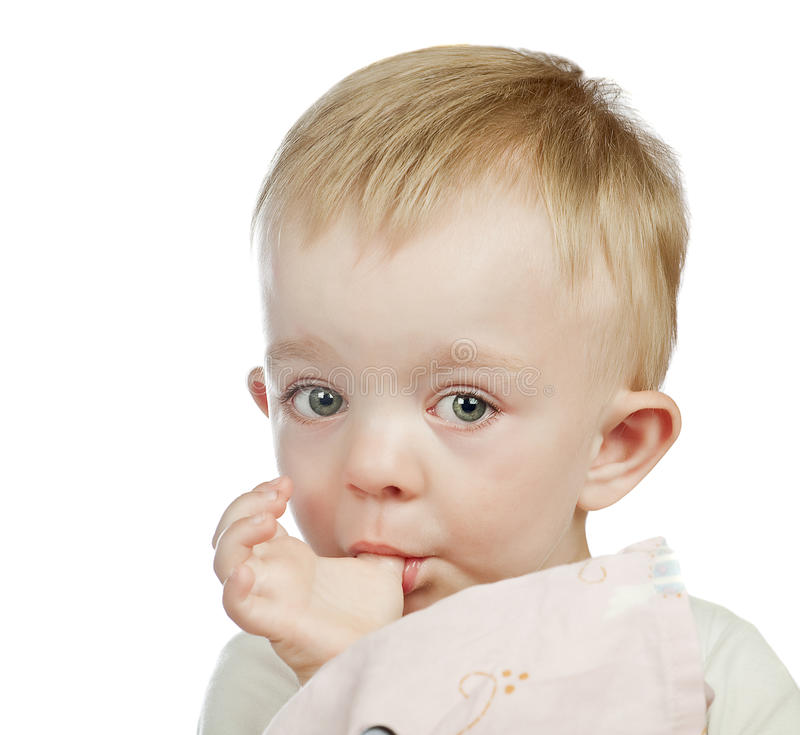 chłopiec palec jego mały target4007_0_ obrazy stock