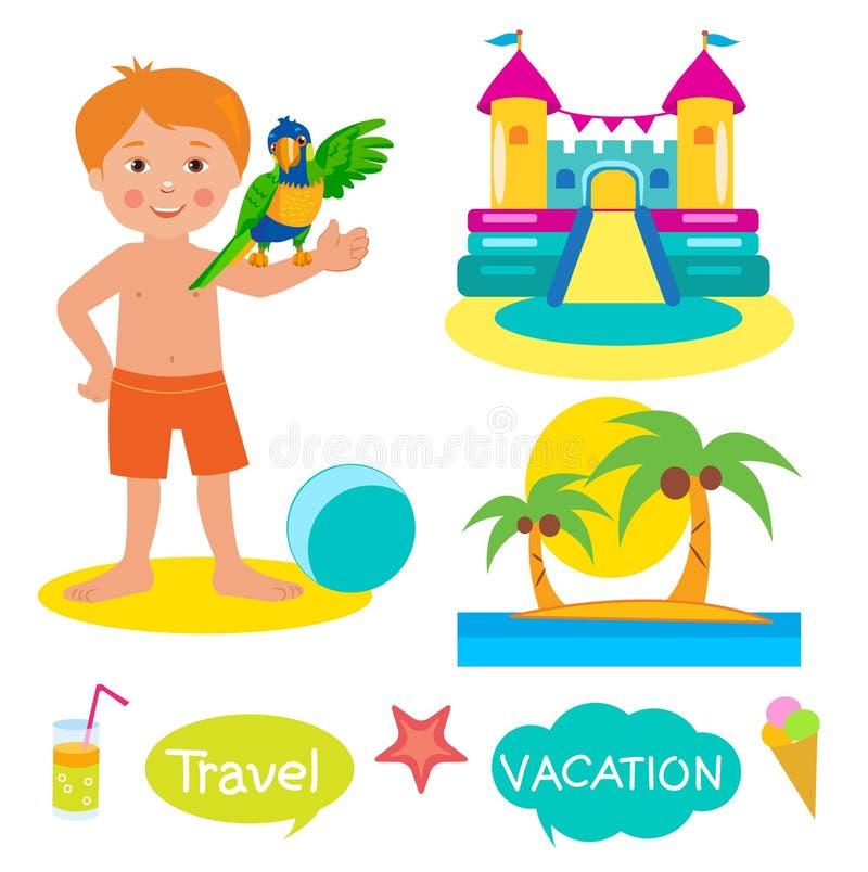 Chłopiec, papuga, Pełen wigoru kasztel I palmy, Ustalony wakacje, turystyk ikony I balony Z tekstem: Wakacje, podróż ilustracja wektor