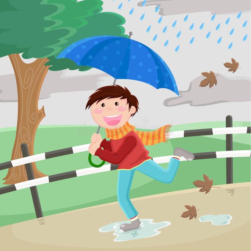 chłopiec parasol ilustracji