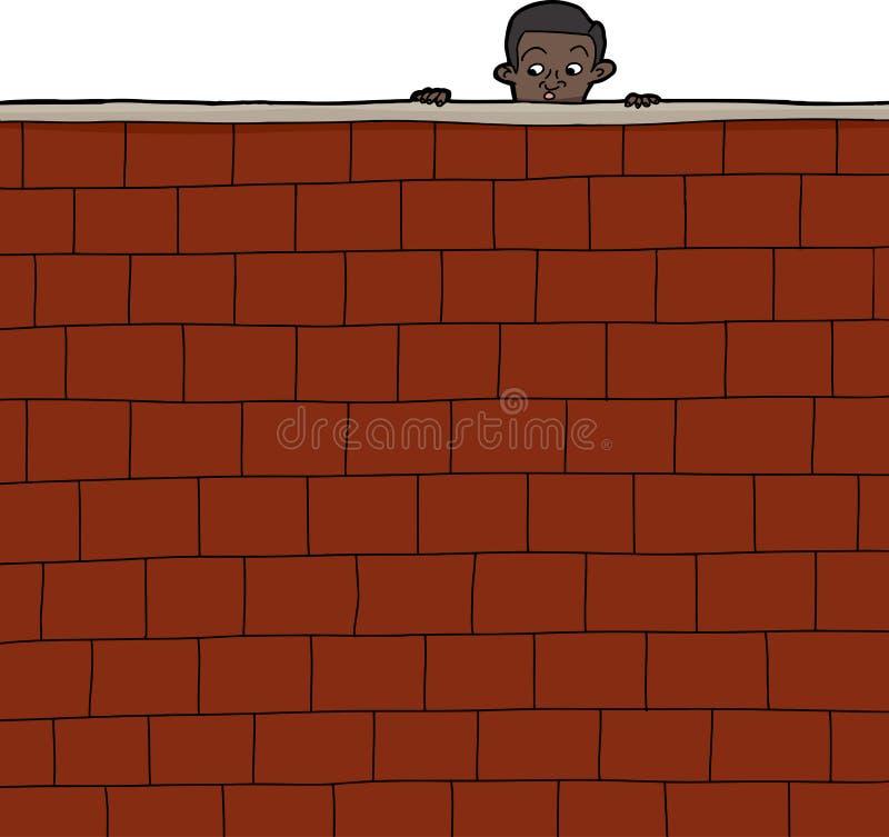 Chłopiec Patrzeje Nad ścianą ilustracja wektor