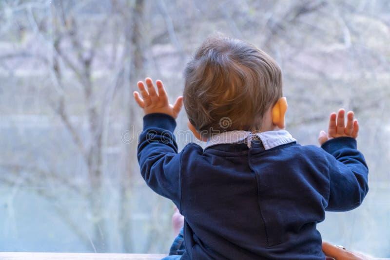Chłopiec patrzeje przez okno obrazy stock