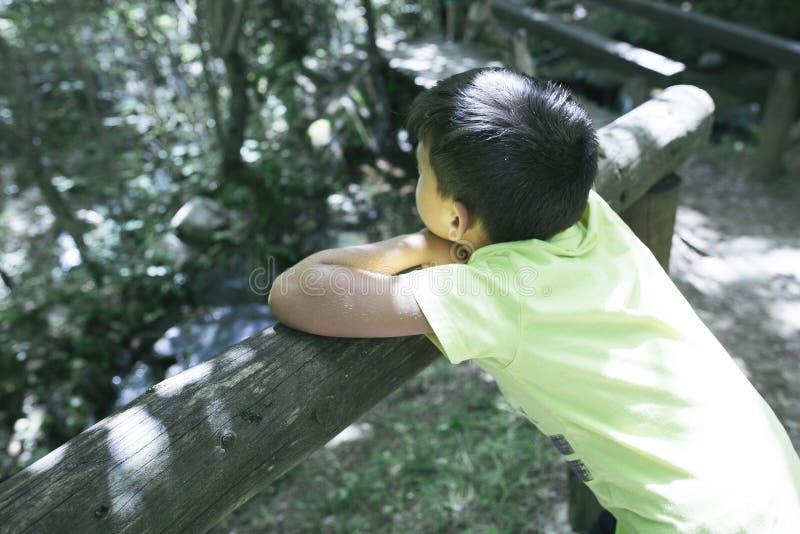 Chłopiec patrzeje rzekę od mosta zdjęcia stock