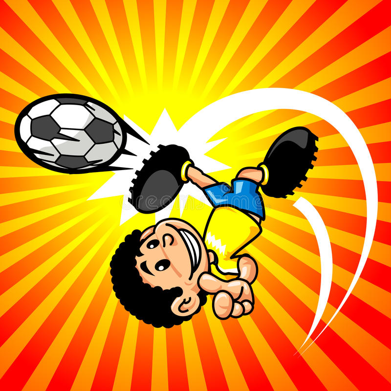 chłopiec piłka nożna gracza piłka nożna royalty ilustracja