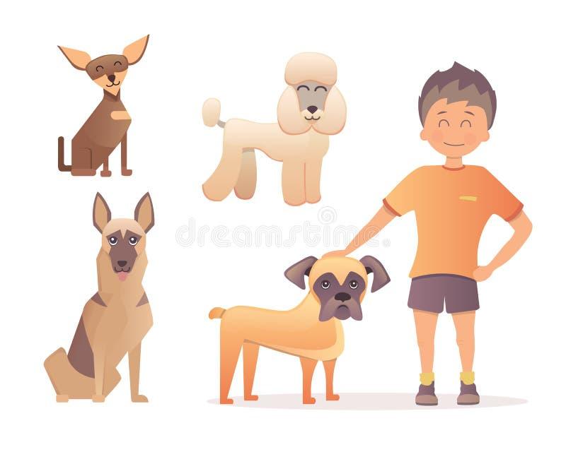 chłopiec pies jego Wektorowa ilustracja w płaskim projekcie ilustracja wektor