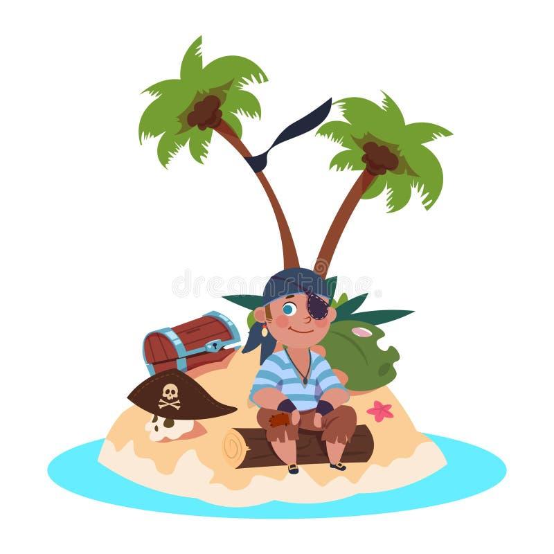 Chłopiec pirat siedzi na skarb wyspie - postać z kreskówki wektoru ilustracja royalty ilustracja