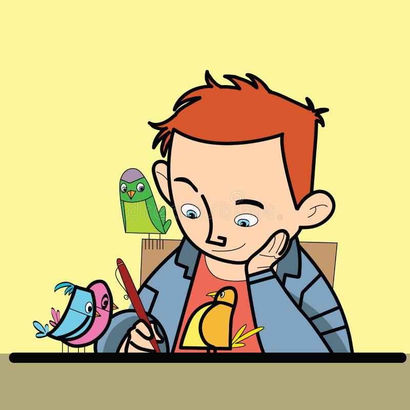 Chłopiec pisze ptasim dopatrywaniu ilustracja wektor