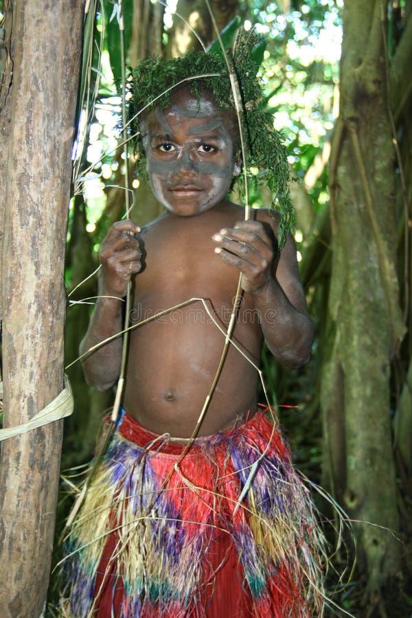 chłopiec plemienna Vanuatu wioska obraz royalty free