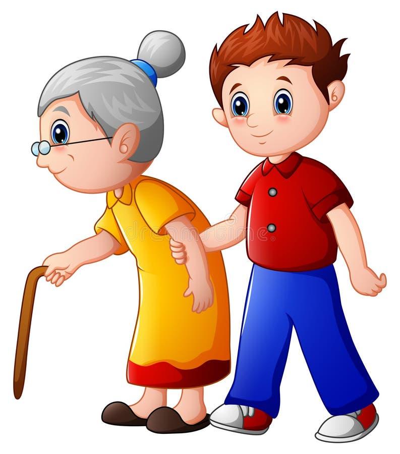 Chłopiec pomaga starej damy i pomagać ona chodzić z jej trzciną ilustracja wektor