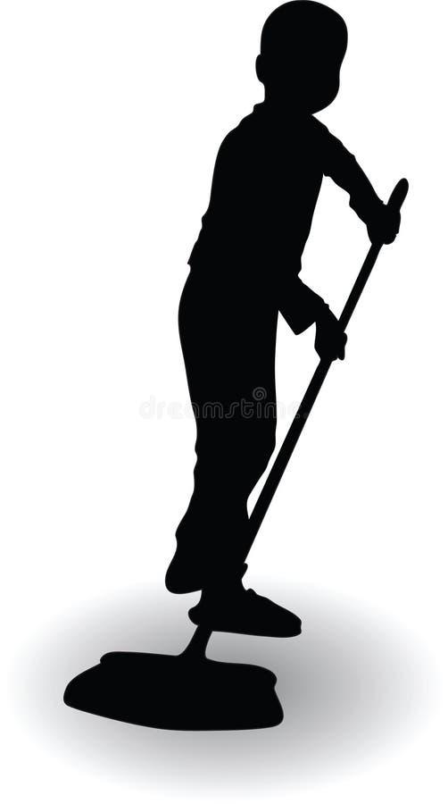 Chłopiec pomaga w domu i czyści podłoga z miotłą zdjęcie stock