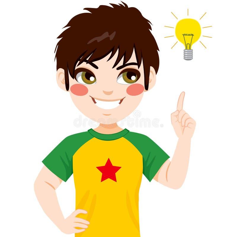 Chłopiec pomysłu żarówka royalty ilustracja