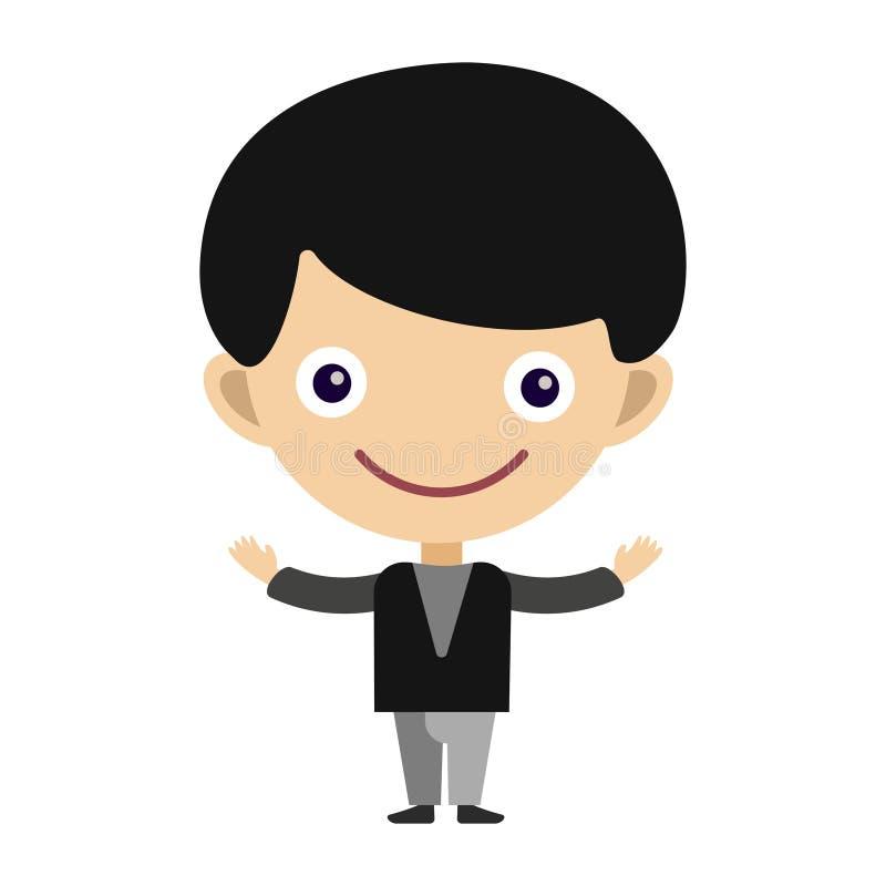 Chłopiec portreta zabawy nastolatka postać z kreskówki szczęśliwego młodego wyrażeniowego ślicznego małego dziecka płaska wektoro ilustracji