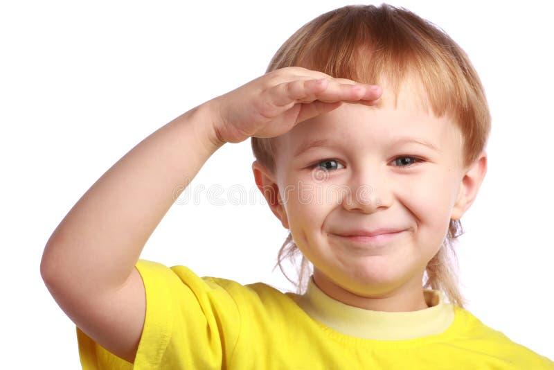 chłopiec potomstwa przedni przyglądający obraz stock