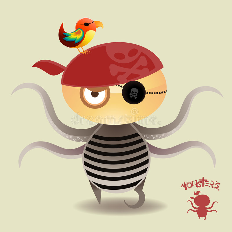 chłopiec potworów pirata czułek royalty ilustracja