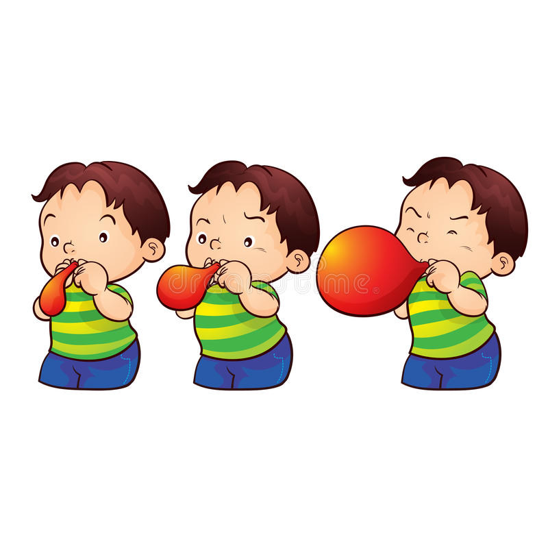 Chłopiec powiększenia balon ilustracja wektor