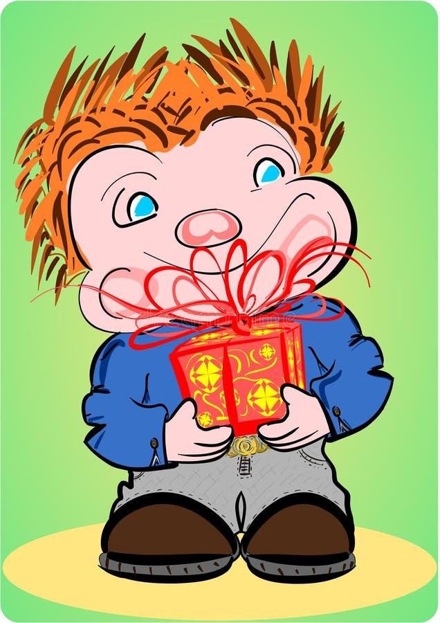 chłopiec prezent royalty ilustracja