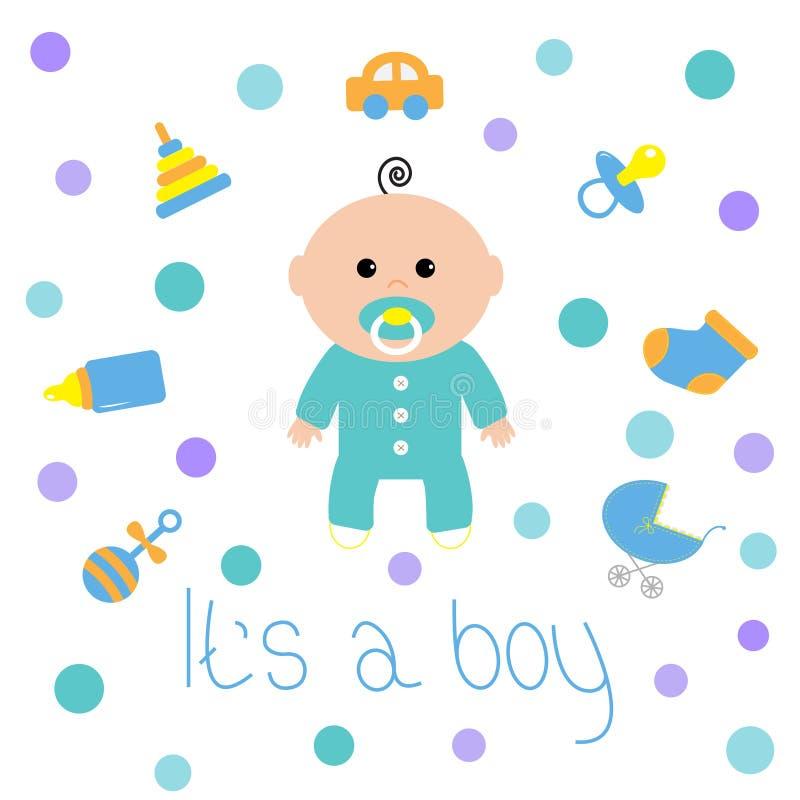 Chłopiec prysznic karta z butelką, koń, brzęk, pacyfikator, skarpeta, samochód zabawka, dziecko frachtu iconset chłopiec swój tła ilustracji