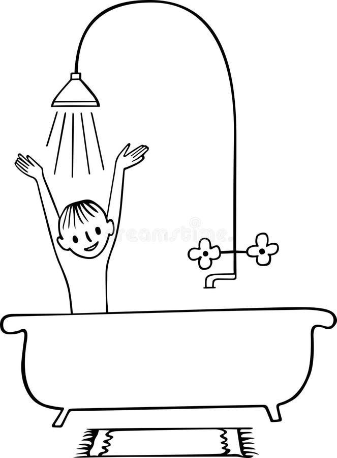 chłopiec prysznic zabranie ilustracji