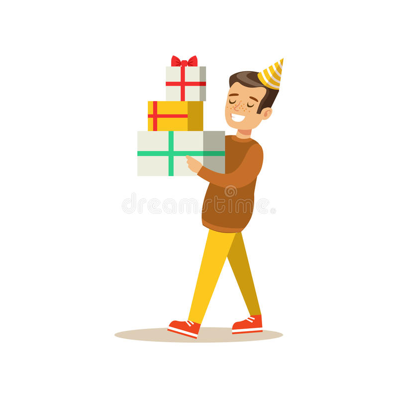Chłopiec przewożenie Wypiętrzający Przedstawia, Żartuje, przyjęcie urodzinowe scenę Z kreskówka Uśmiechniętym charakterem royalty ilustracja