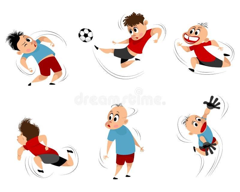Chłopiec przy bawić się futbolu set ilustracji