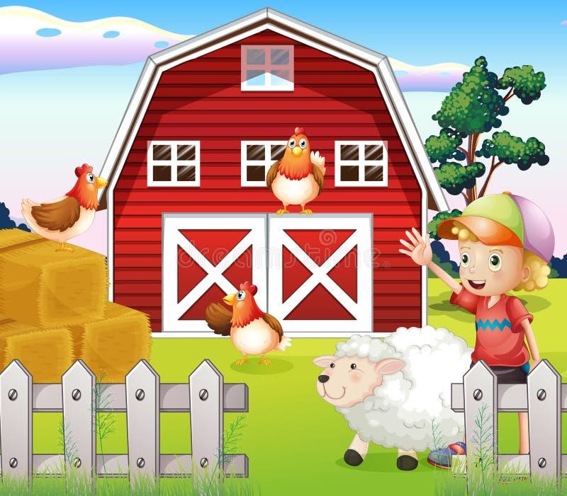 Chłopiec przy domem wiejskim z zwierzętami royalty ilustracja