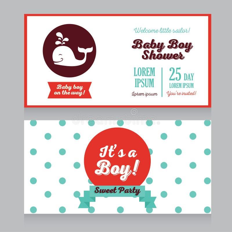 Chłopiec przyjazdowych kart szablon z ślicznym wielorybem ilustracji