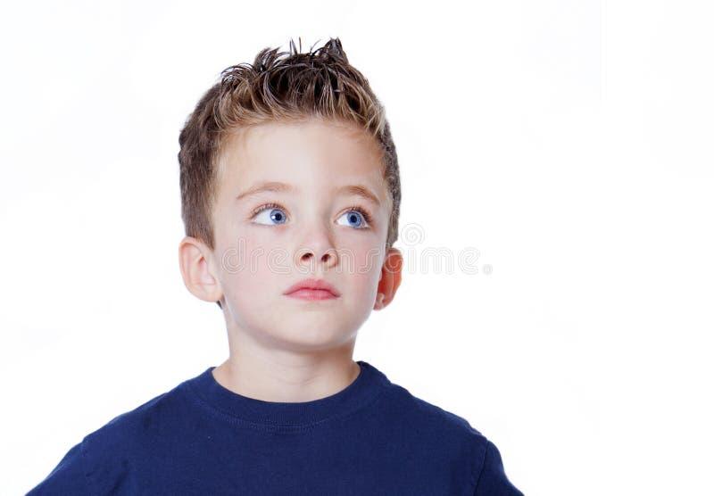 chłopiec przystojna przyglądająca portreta strona zdjęcie royalty free