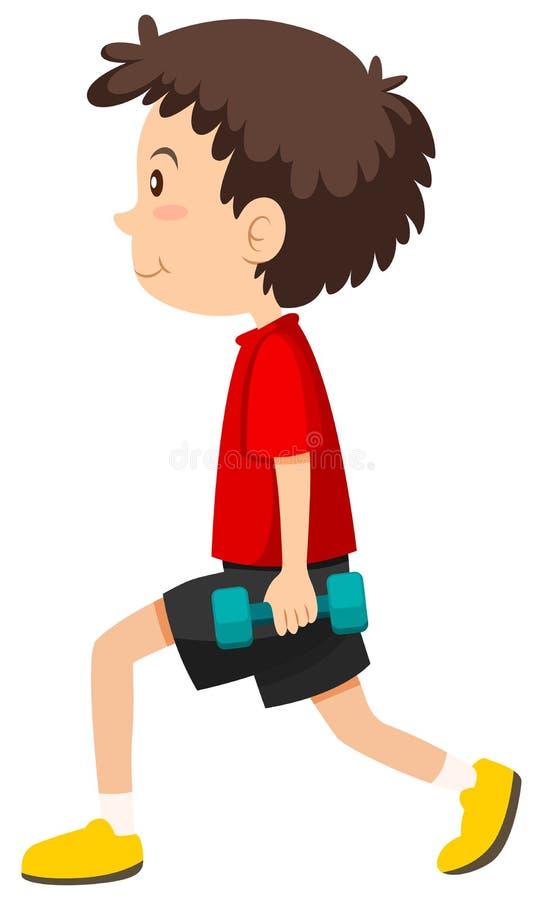 Chłopiec robi obciążającym lunges ilustracja wektor