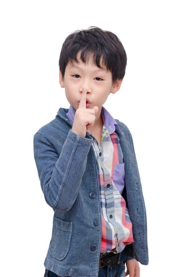 Chłopiec robi znakowi zadawala przerwy opowiadać zdjęcie royalty free
