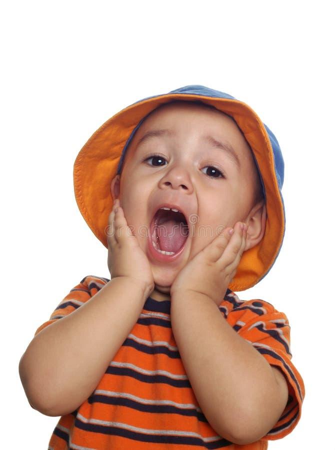 chłopiec rok stary zdziwiony dwa fotografia stock