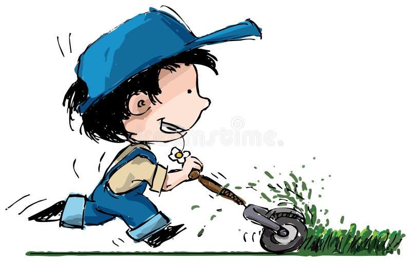 chłopiec rozcięcia ogródu gazonu kosiarza ja target2332_0_ ilustracja wektor
